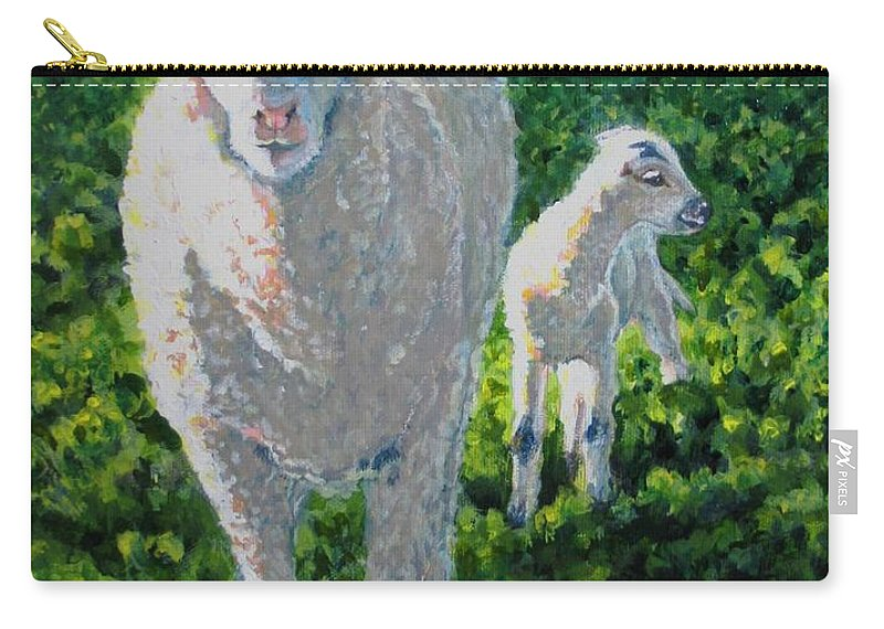 Sheep Carry-all Pouch featuring the painting In Sheep's Clothing by Karen Ilari