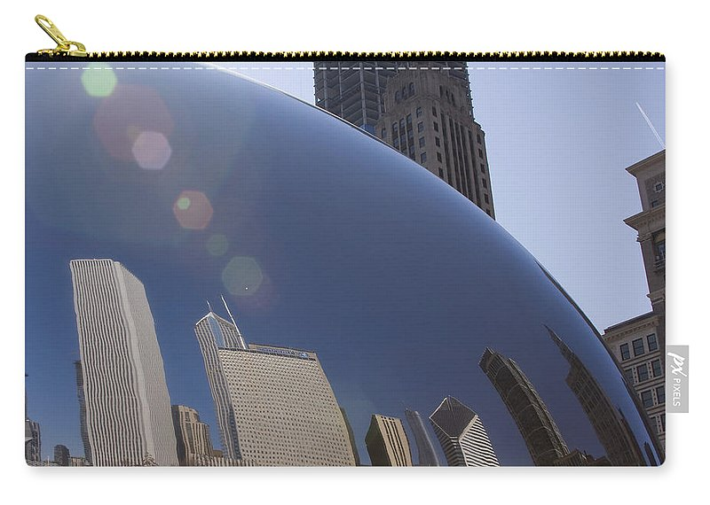 Chicago City Windy Wind Bean Park Sun Reflect Reflection Metro Urban Art Carry-all Pouch featuring the photograph In The Bean by Andrei Shliakhau