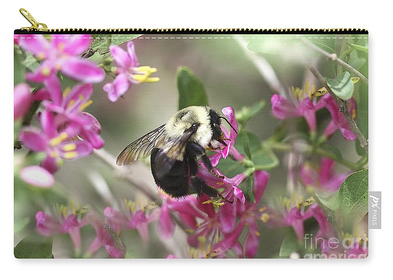 Flower Carry-all Pouch featuring the photograph In The Center Of Pink by Deborah Benoit