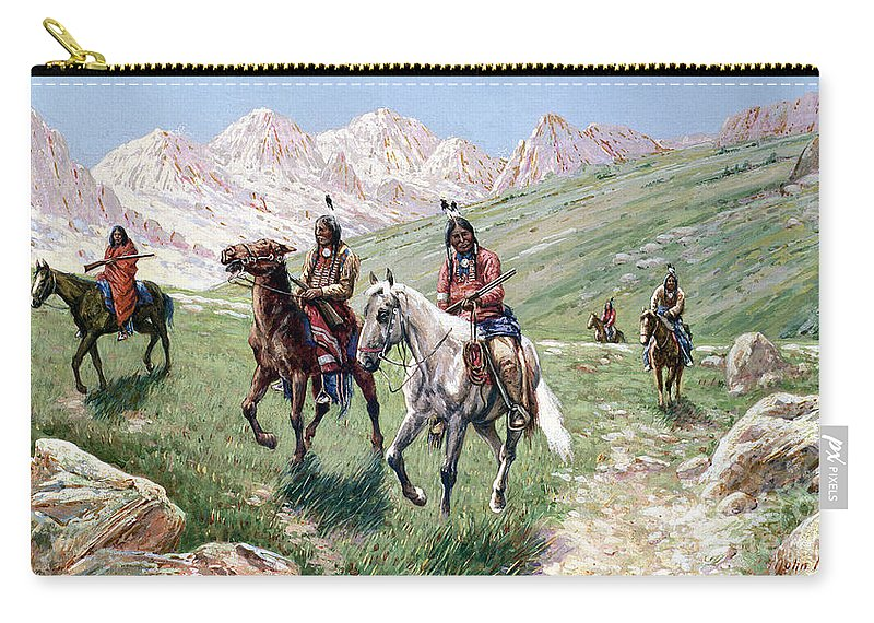 In The Cheyenne Country Carry-all Pouch featuring the painting In The Cheyenne Country by John Hauser