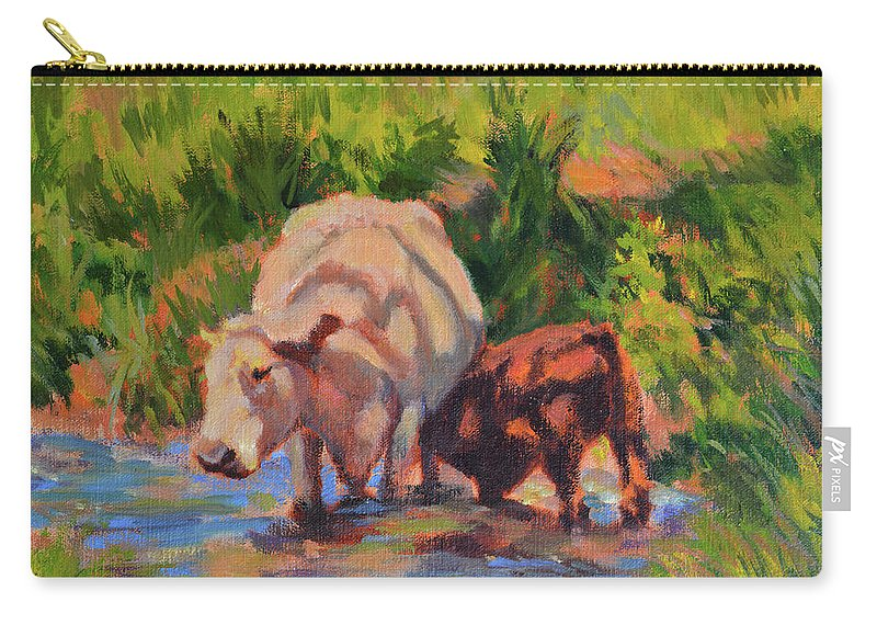 Impressionism Carry-all Pouch featuring the painting In The Creek by Keith Burgess
