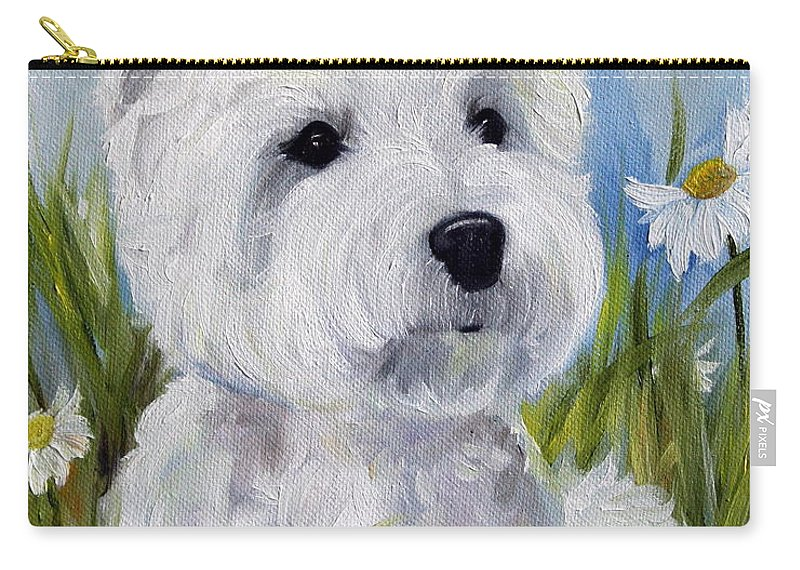 Art Carry-all Pouch featuring the painting In The Daisies by Mary Sparrow