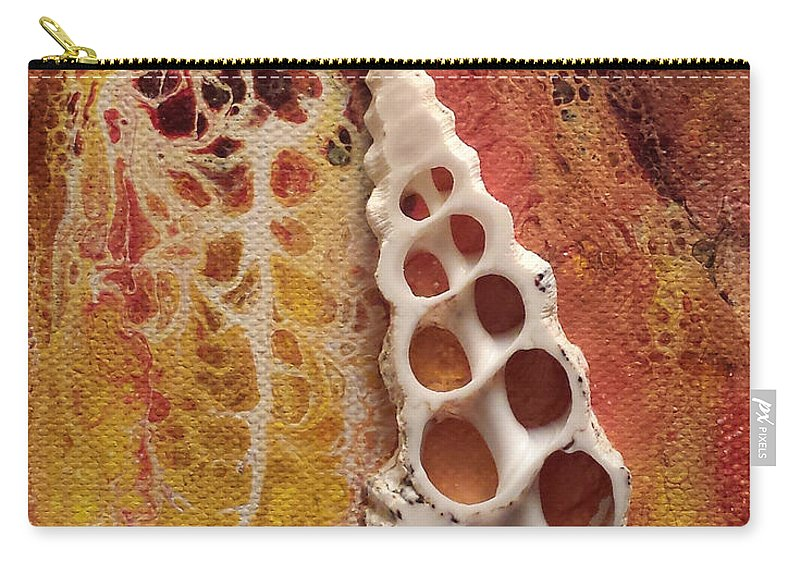 Shell Abstract Earth Tones Carry-all Pouch featuring the painting In The End by Beth Waltz