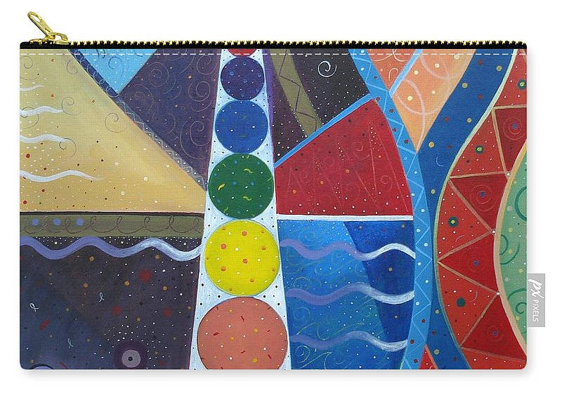 Abstract Landscape Carry-all Pouch featuring the painting In The Flow by Helena Tiainen