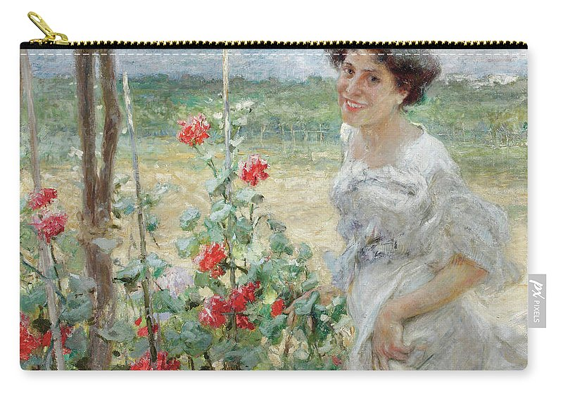 Flower Carry-all Pouch featuring the painting In The Flower Garden, 1899 by Umberto Veruda