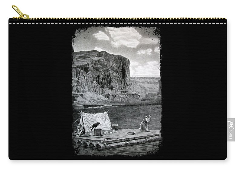 Grand Canyon Carry-all Pouch featuring the drawing In The Grand Canyon by Miro Gradinscak