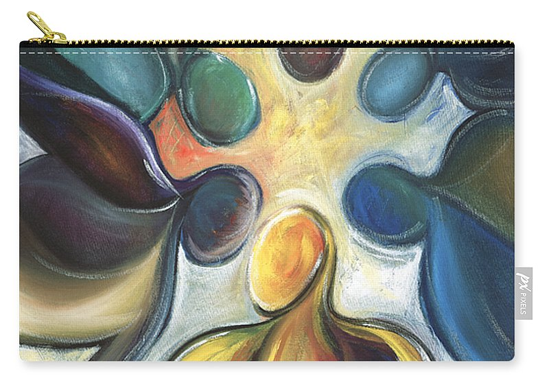 Atlanta Falcons Carry-all Pouch featuring the painting In The Huddle by Kristye Addison Dudley