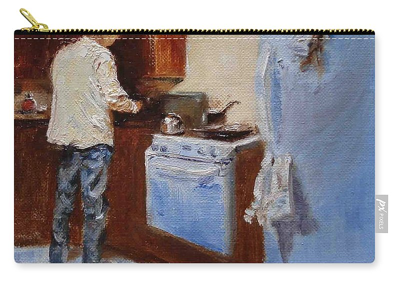 Cooking Carry-all Pouch featuring the painting In The Kitchen by Barbara Andolsek