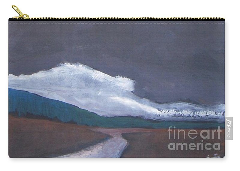 Landscape Carry-all Pouch featuring the painting In Light Of The Clouds by Vesna Antic