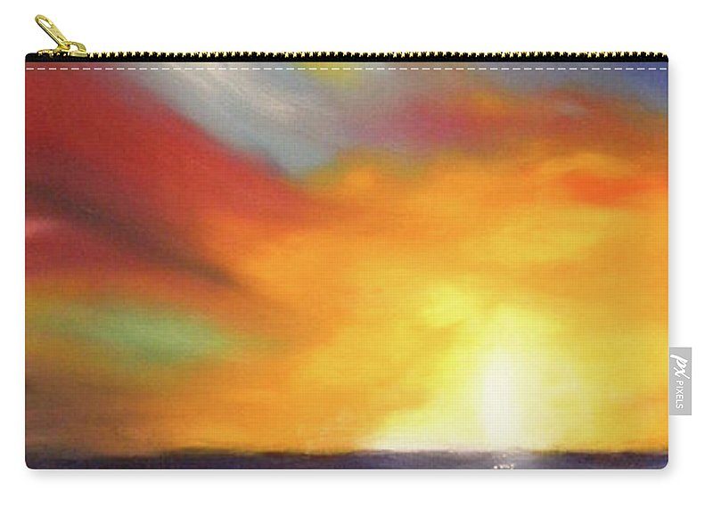 Sunset Carry-all Pouch featuring the painting In The Moment - Vertical Sunset by Gina De Gorna