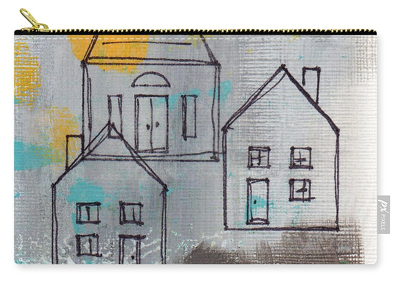 Abstract Carry-all Pouch featuring the painting In The Neighborhood by Linda Woods