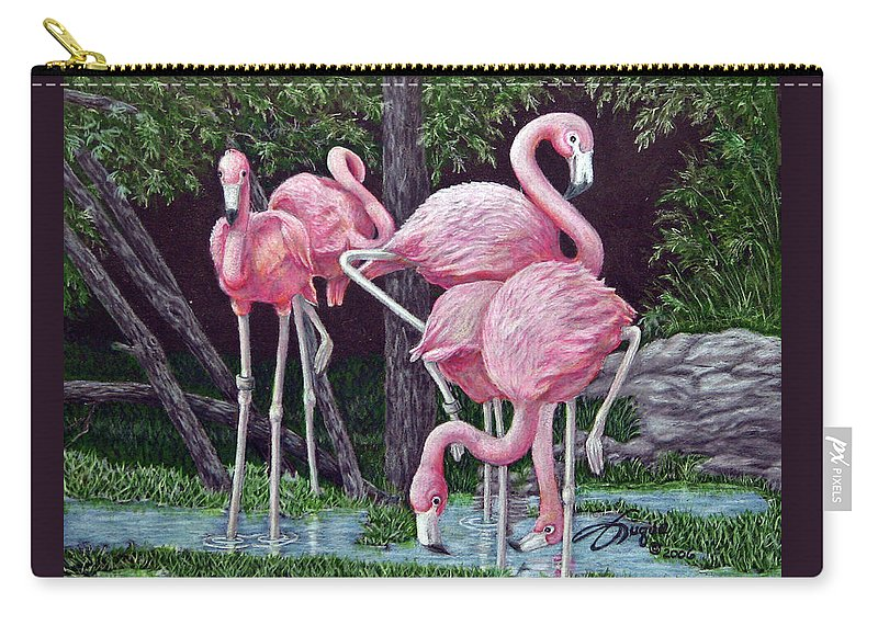 Fuqua Gallery-bev-artwork. Wildlife Carry-all Pouch featuring the drawing In The Pink by Beverly Fuqua