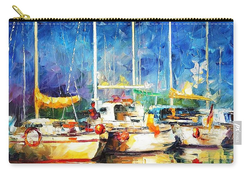 Art Gallery Carry-all Pouch featuring the painting In The Port - Palette Knife Oil Painting On Canvas By Leonid Afremov by Leonid Afremov