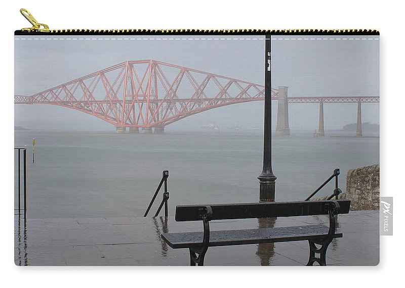 Forth Rail Bridge Carry-all Pouch featuring the photograph In The Rain by Elena Perelman
