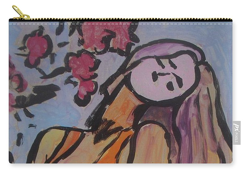 Blond Carry-all Pouch featuring the painting In The Shadow Of The Flowers by Vesna Antic