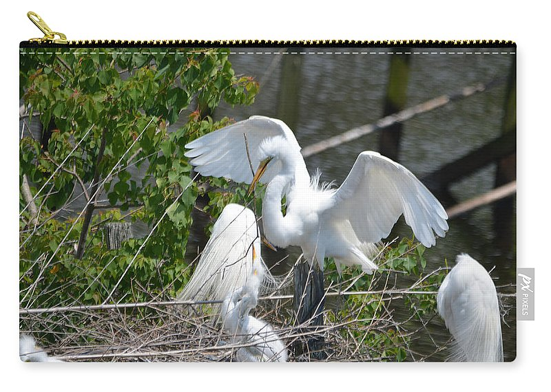 Lake Carry-all Pouch featuring the photograph In The Wild White Snowy Egrets Photography ....photo A by Barb Dalton