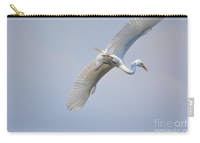 Lake Carry-all Pouch featuring the photograph Now Where Did I Leave That Nest...in The Wild White Snowy Egrets Photography....photo C by Barb Dalton