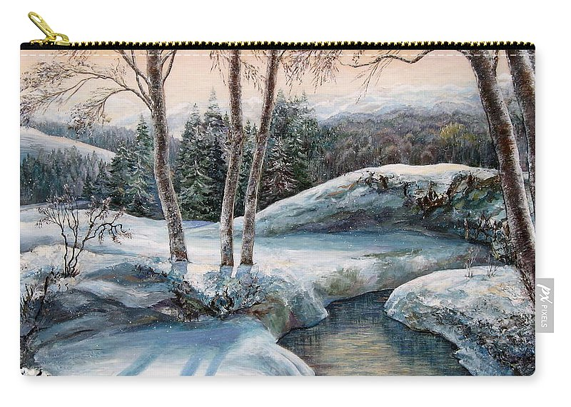 Nature Carry-all Pouch featuring the painting In The Winter In Carpathians. by Maya Bukhina