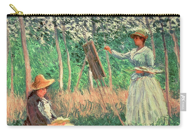 Claude Monet Carry-all Pouch featuring the painting In The Woods At Giverny by Claude Monet