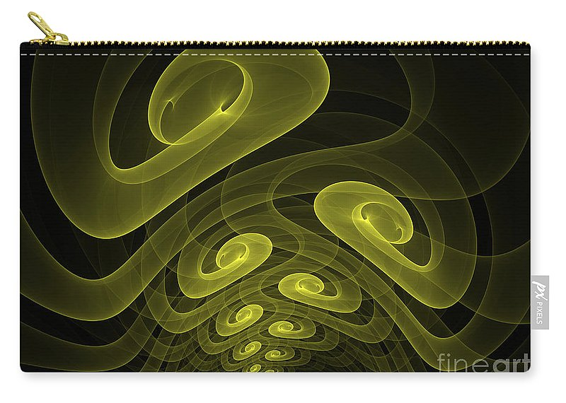Apophysis Fractal Yellow Canvas Framed Cards Sell Art Carry-all Pouch featuring the mixed media In The Yellow Tunnel by Deborah Benoit