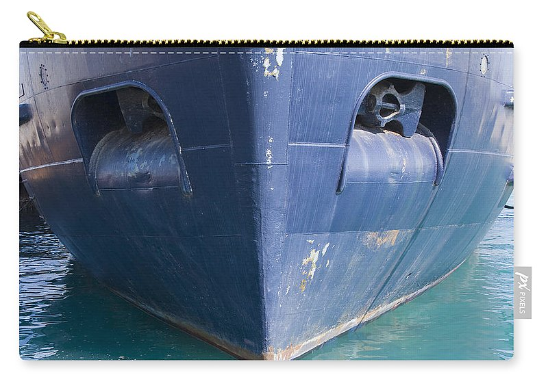 Chicago Windy City Ship Boat Lake Michigan Water Sun Sunny Blue Anchor Carry-all Pouch featuring the photograph In Waiting by Andrei Shliakhau