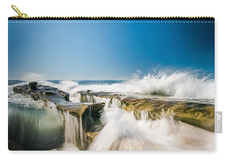 La Jolla Carry-all Pouch featuring the photograph Incoming La Jolla Rock Formations by Scott Campbell