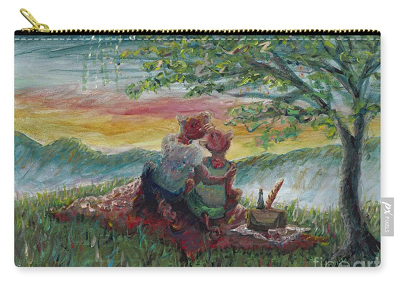 Landscape Carry-all Pouch featuring the painting Independance Day Pignic by Nadine Rippelmeyer