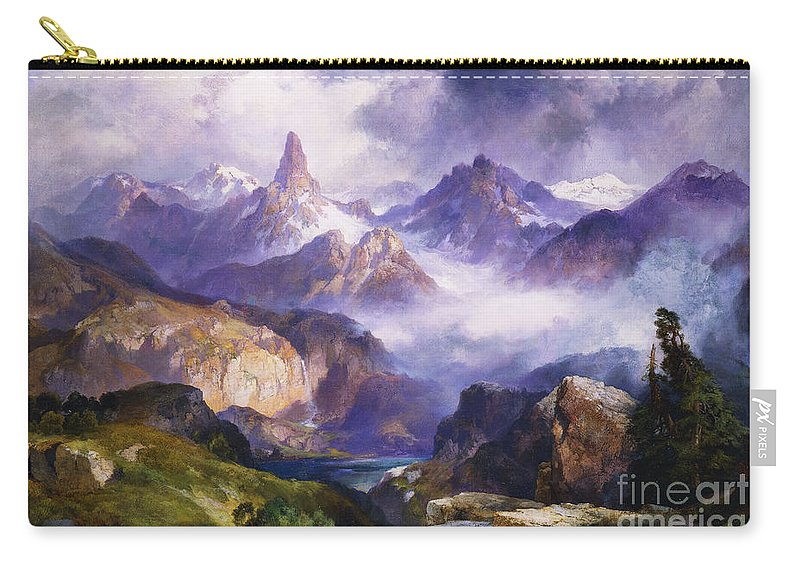 American Artist; American Painting; Cloud; Cloudy; Day; Drama; Dramatic; Ecosystem; Forest; Hudson River School; Idyllic;isolation; Lake; Meteorology; Mountains; Mountain Range; Mountaintop; National Park; Nature; Natural Phenomena;oil Painting; Outdoors; Picturesque; Positive Concepts; Remote; Rock; Romantic Art; Romantic Era; Romanticism; Scene; Scenery; Scenic; Secluded; Seclusion; Sky; Snow Capped; Snow-capped; Water; Weather; Wood; Woodland; Wyoming; Yellowstone National Park Carry-all Pouch featuring the painting Index Peak Yellowstone National Park by Thomas Moran