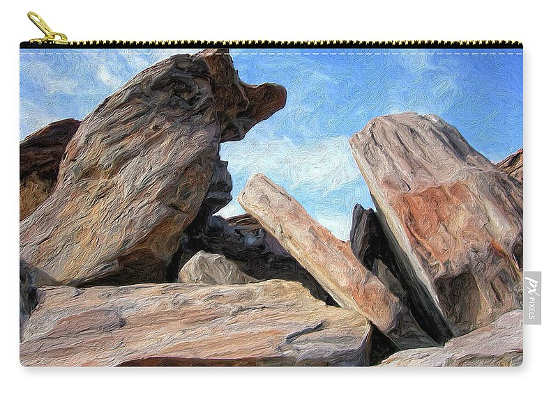 Rocks Carry-all Pouch featuring the painting Indian Canyon Rocks by Dominic Piperata