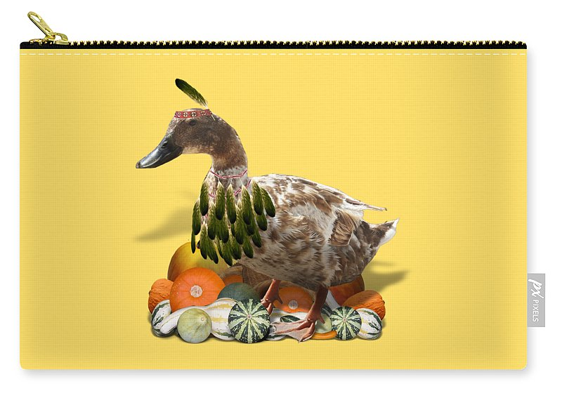 Thanksgiving Carry-all Pouch featuring the mixed media Indian Duck by Gravityx9 Designs