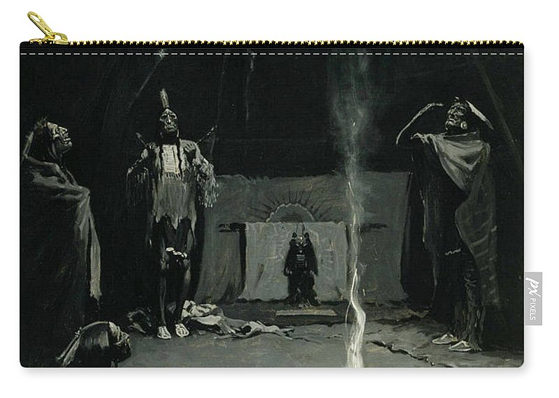 Native Americans Carry-all Pouch featuring the painting Indian Fire God -the Going Of The Medicine Horse by Frederic Sackrider Remington
