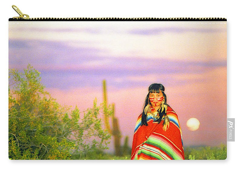 Indian Carry-all Pouch featuring the photograph Indian Full Moon Southwest Sunset by James BO Insogna