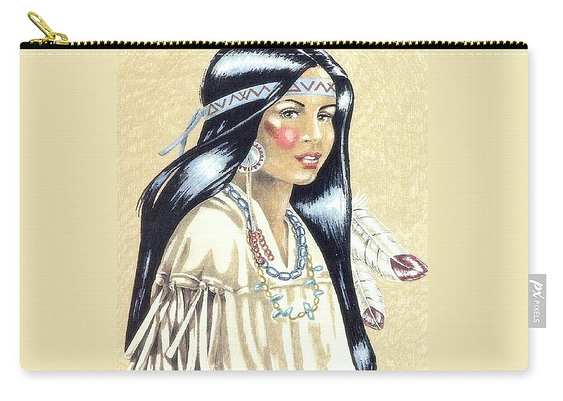 American Indians Carry-all Pouch featuring the painting Indian Girl by George I Perez