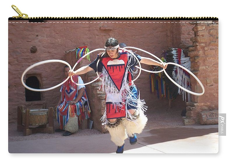 Indian Dancer Carry-all Pouch featuring the photograph Indian Hoop Dancer by Anita Burgermeister