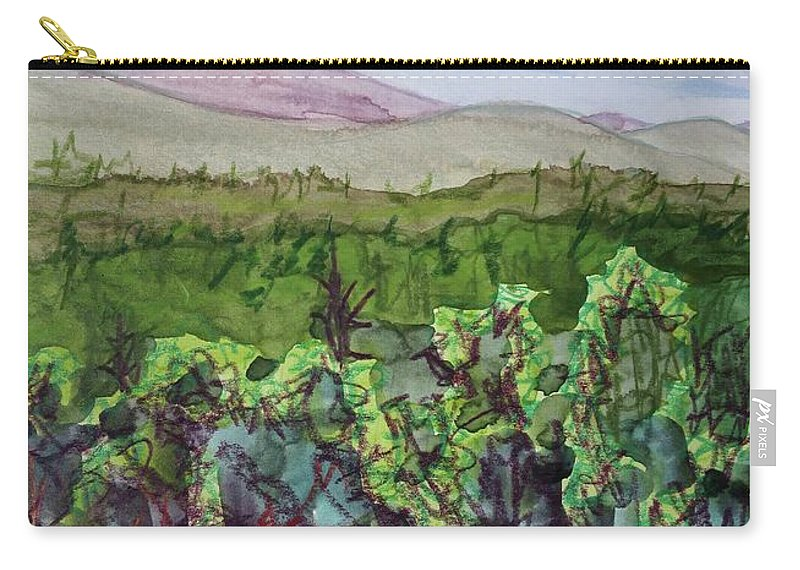 Chimney Mountain Carry-all Pouch featuring the painting Chimney Mountain, Indian Lake Overlook Panorama 4 by Bethany Lee