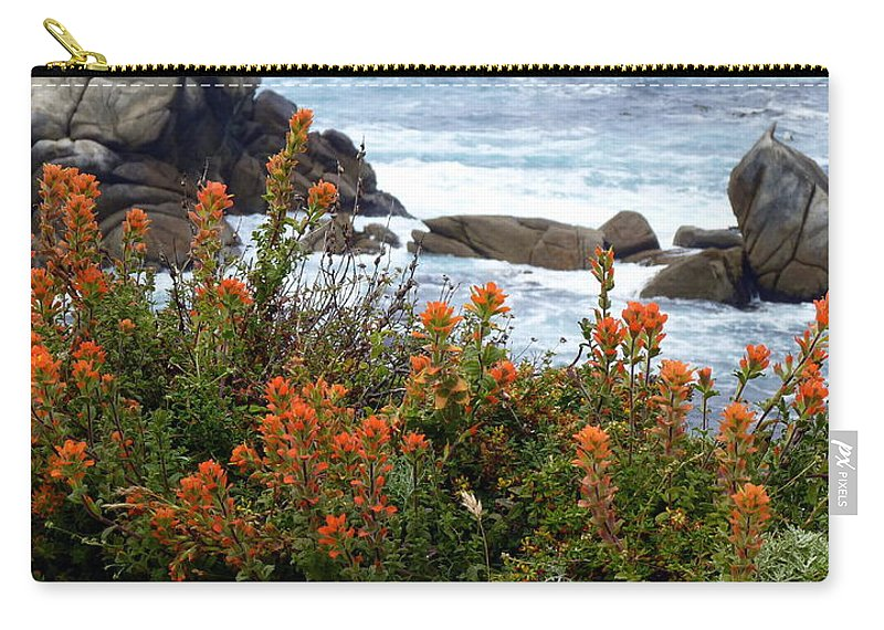 Indian Paintbrush Carry-all Pouch featuring the photograph Indian Paintbrush At Point Lobos by Carla Parris