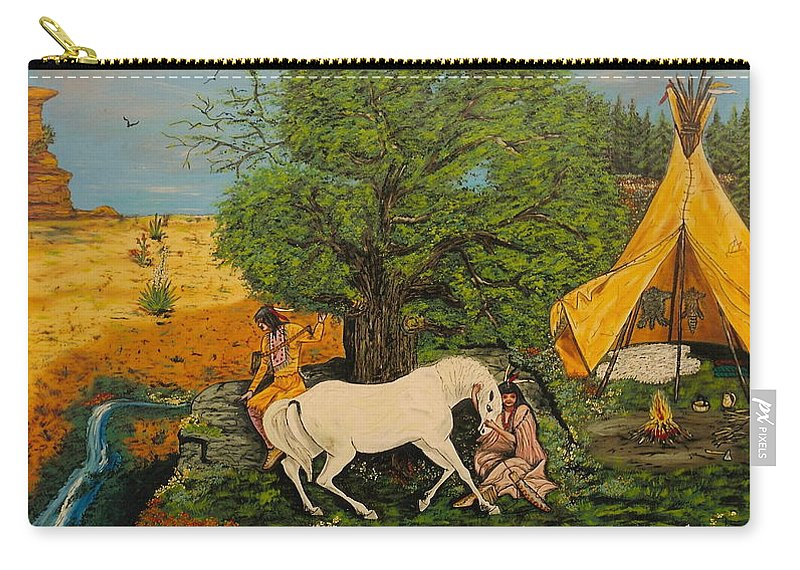 Horses Carry-all Pouch featuring the painting Indian Romance by V Boge
