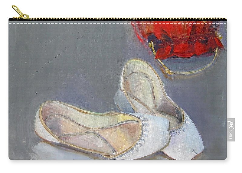 White Carry-all Pouch featuring the painting White Shoes by Mohita Bhatnagar