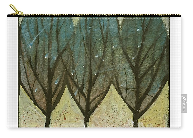 Trees Carry-all Pouch featuring the painting Indian Summer Snow by Tim Nyberg