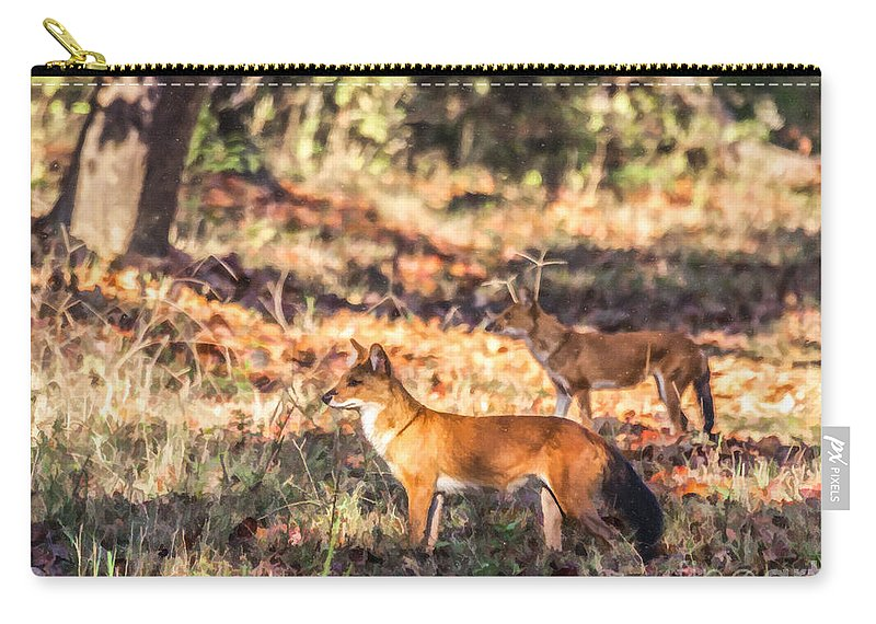 Dhole Carry-all Pouch featuring the digital art Indian Wild Dogs Dholes Kanha National Park India by Liz Leyden