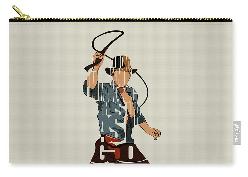 Indiana Jones Carry-all Pouch featuring the painting Indiana Jones - Harrison Ford by Inspirowl Design