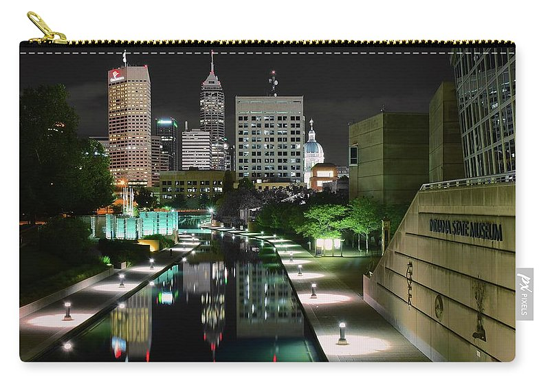 Indianapolis Carry-all Pouch featuring the photograph Indianapolis Canal Night View by Frozen in Time Fine Art Photography