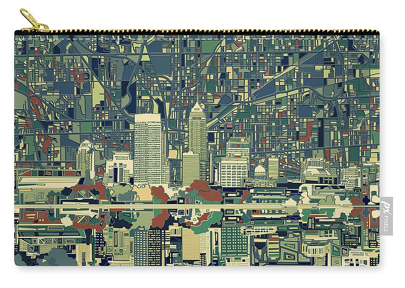 Indianapolis Carry-all Pouch featuring the painting Indianapolis Skyline Abstract 3 by Bekim M