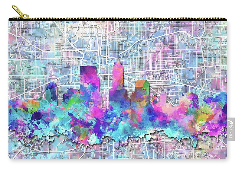 Indianapolis Carry-all Pouch featuring the painting Indianapolis Skyline Watercolor 5 5 by Bekim M