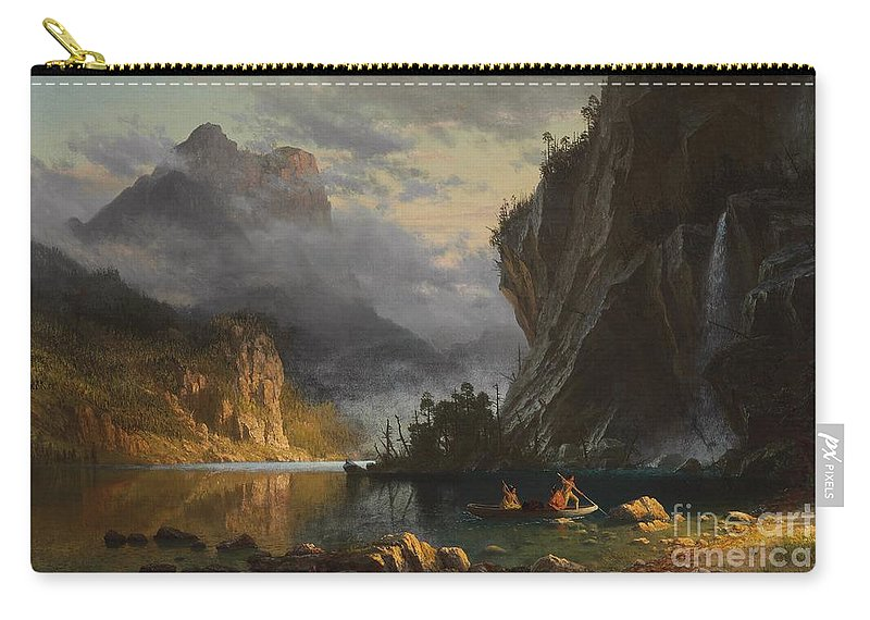 Landscape; Romantic; Romanticist; America; North America; American; North American;landscape; Rural; Countryside; Wilderness; Scenic; Picturesque; Atmospheric; Indians; Native American; Native Americans; American Indian; American Indians; Lake; River; Dramatic; Clouds; Mountains; Mountainous; Western; Rugged; Cliffs; Beach; Boat; Fishing; Spear; Spears; Waterfall Carry-all Pouch featuring the painting Indians Spear Fishing by Albert Bierstadt