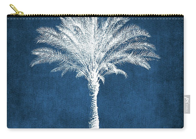 Palm Tree Carry-all Pouch featuring the mixed media Indigo and White Palm Tree- Art by Linda Woods by Linda Woods