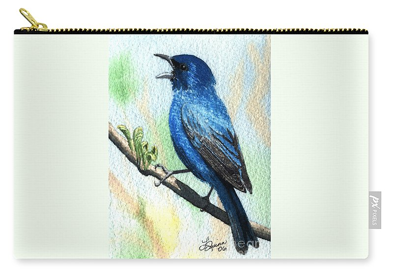 Bird Carry-all Pouch featuring the painting Indigo Bunting by Lynn Quinn