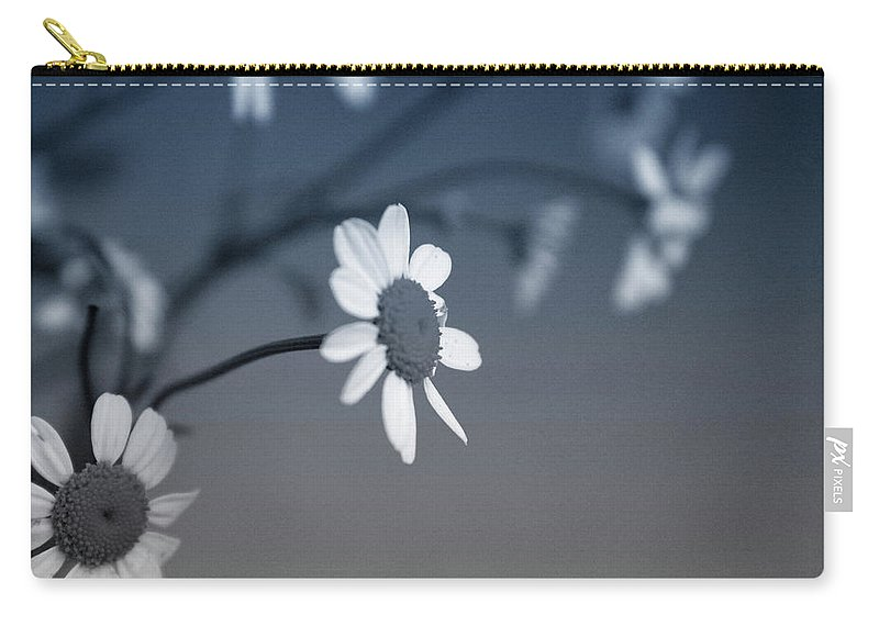 Floral Carry-all Pouch featuring the mixed media Indigo Daisies 1- Art by Linda Woods by Linda Woods