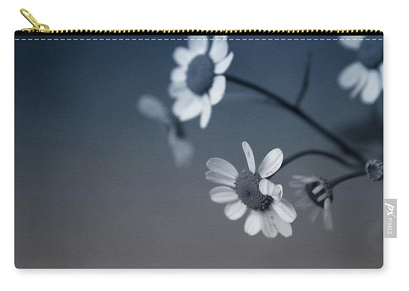 Floral Carry-all Pouch featuring the mixed media Indigo Daisies 2- Art by Linda Woods by Linda Woods