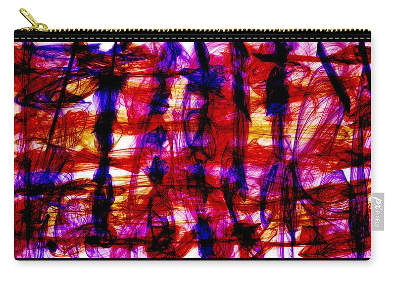 Chaos Carry-all Pouch featuring the digital art Indigo Madness by Shirlena Rudder